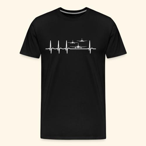Herzschlag Flugschau Luftrennen Flugzeug Shirt - Männer Premium T-Shirt