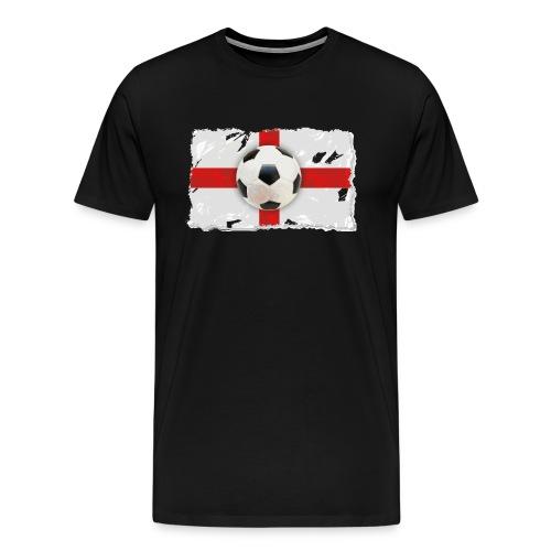 Fußball über einer küstlerischen englischen Flagge - Männer Premium T-Shirt