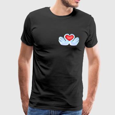 Heart Swans lave poly Valentinsdag Carnival Ægteskab - Herre premium T-shirt
