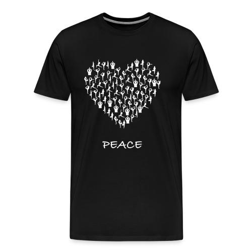 Peace Yoga Heart With Tiny Yoga Poses Meditation - Premium T-skjorte for menn