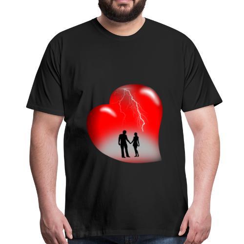 t shirt coeur rouge coup de foudre eclairs - T-shirt Premium Homme