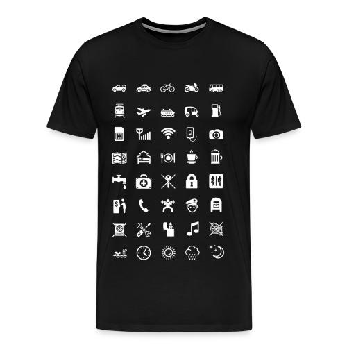 T-shirt för resan med vita ikoner - Premium-T-shirt herr