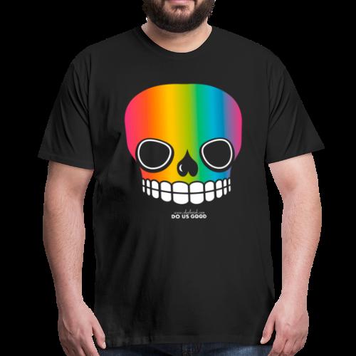 JUST SKULL rainbow - Miesten premium t-paita
