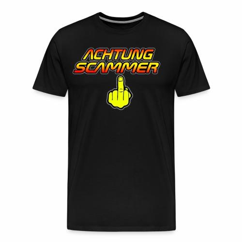 Achtung Scammer (Mit Mittelfinger) - Männer Premium T-Shirt