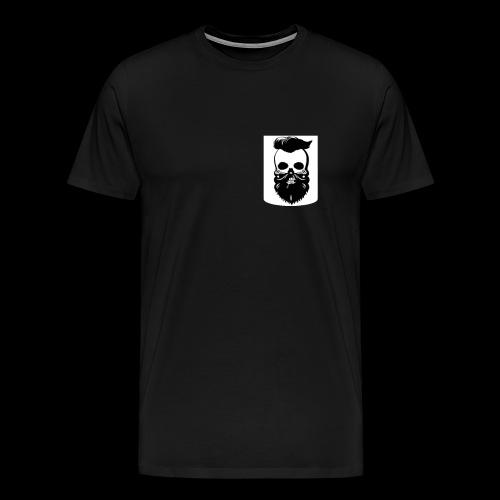 Bart Totenkopf Tattoo Motorrad Biker Pocket Design - Männer Premium T-Shirt