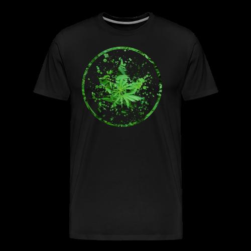 Cannabisblatt Farbklecks im Kreis - Männer Premium T-Shirt