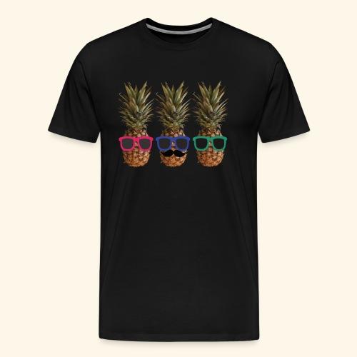 Hipster Ananas mit Sonnenbrillen und Bart - Men's Premium T-Shirt