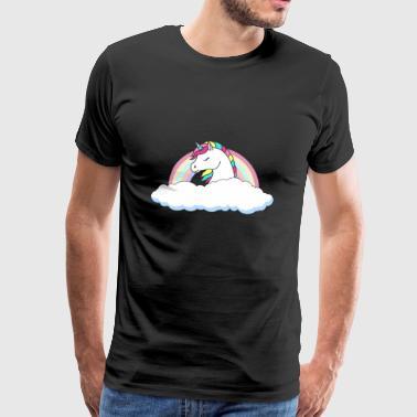 Unicorn over skyene - Premium T-skjorte for menn