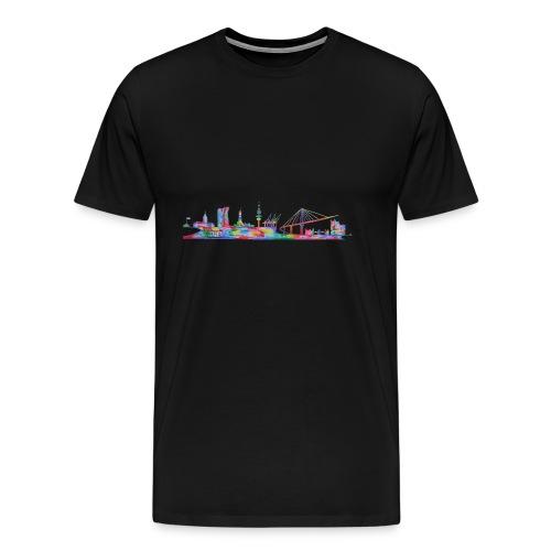 Hamburg Skyline gemalt in Acyl, Maxipike - Männer Premium T-Shirt