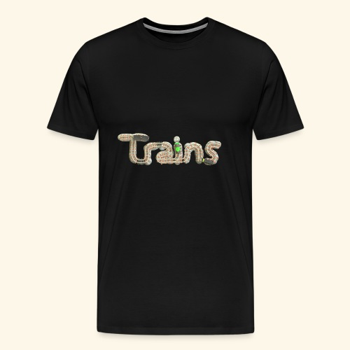 Colourful eagle eye's view of model trains - Men's Premium T-Shirt