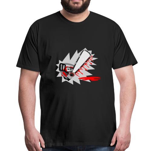 T shirt humeur tronçonneuse en sang votre texte FS - T-shirt Premium Homme