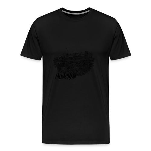 München / Munich Stadtansicht Skizze mit Alpen - Männer Premium T-Shirt