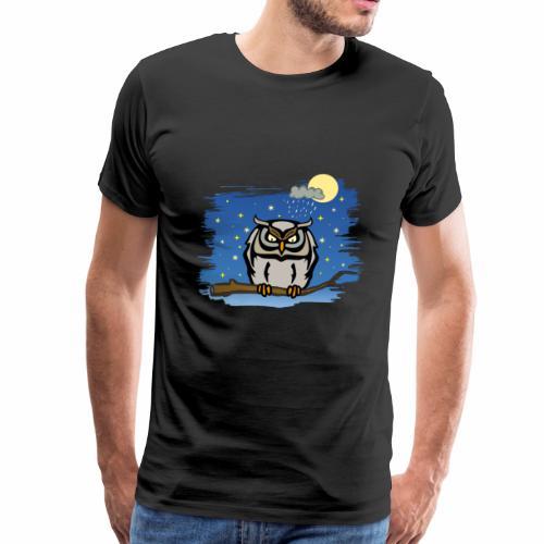 Eule Uhu Nacht Vollmond Regen Wolke Sterne Himmel - Männer Premium T-Shirt