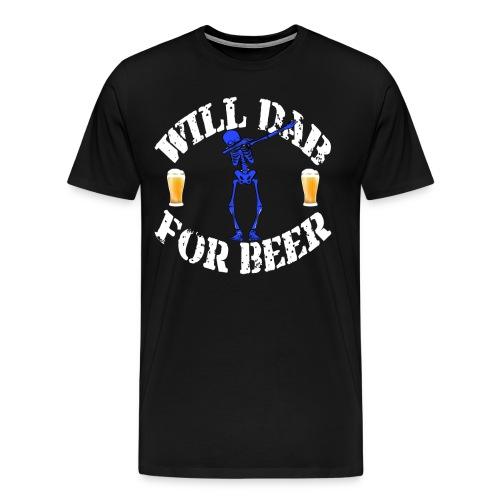 Funny Halloween Blue Skeleton Will For Beer. Beer Lover Gift - Men's Premium T-Shirt