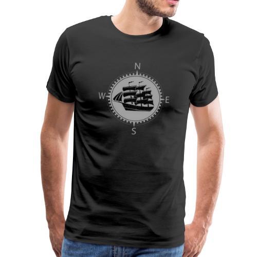 Schiff weiss Kompass Nord Süd - Männer Premium T-Shirt