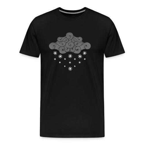 nuage gris et flocons vacances d'hiver - T-shirt Premium Homme