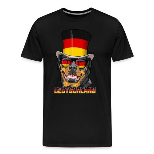 Cooler Deutschland Rottweiler mit Hut und Brille - Männer Premium T-Shirt