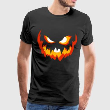 Halloween dynia z uśmiechem grymas Czerwony Żółty - Koszulka męska Premium