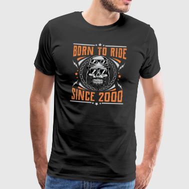 Nato a cavalcare dal 2000 Biker Rocker compleanno - Maglietta Premium da uomo