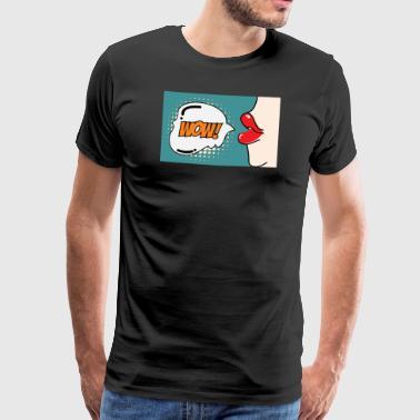 Popart Comic Wow Speech Bubble Mouth Lips - Men's Premium T-Shirt