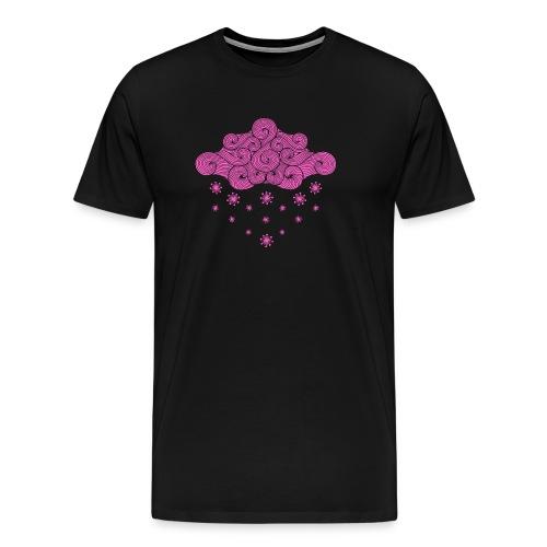 nuage rose et flocons vacances d'hiver - T-shirt Premium Homme