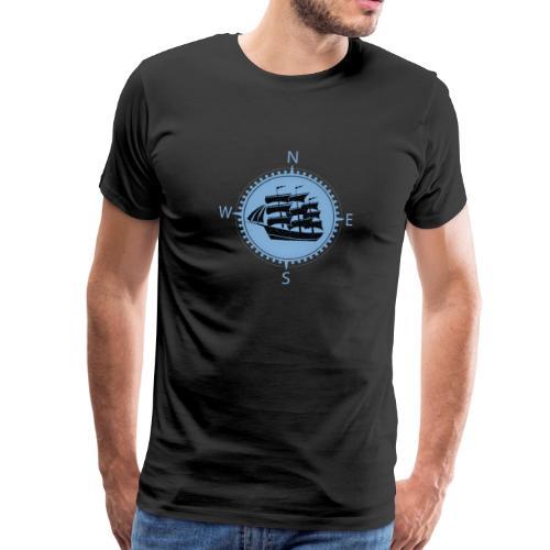 Schiff blau Kompassrose Nord Süd - Männer Premium T-Shirt