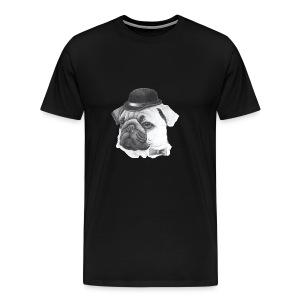 pug with bowler - Herre premium T-shirt