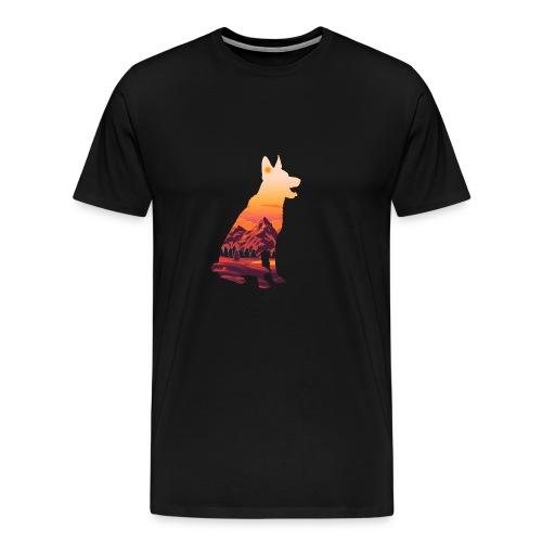 Hund beim Sonnenuntergang in den Bergen - Männer Premium T-Shirt