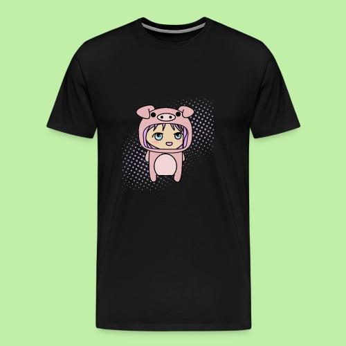 Super kawaii anime kid in piglet outfit - Men's Premium T-Shirt