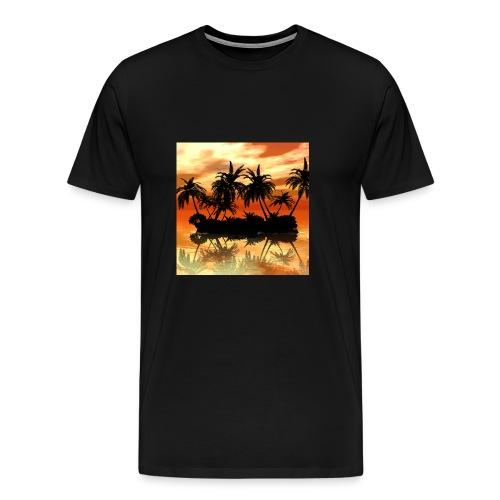 Maravillosa puesta de sol sobre la isla - Camiseta premium hombre