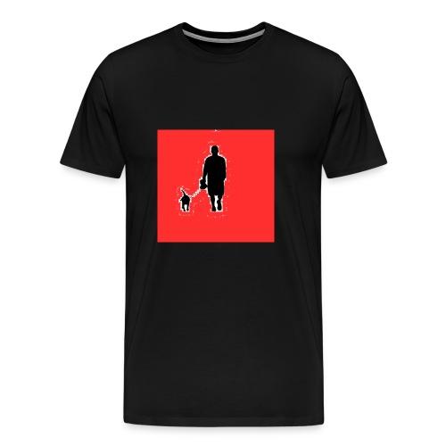 Silhouette Man Walking Dog - Maglietta Premium da uomo