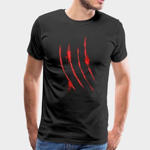 Blutige Krallen Kratzer von Monster Klaue 3 - Männer Premium T-Shirt