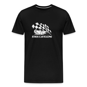 Stock Car Racing car and flag - Men's Premium T-Shirt