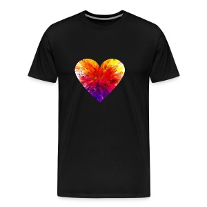 Valentines Day Tee Shirt - Coloured Rainbow Heart - Men's Premium T-Shirt