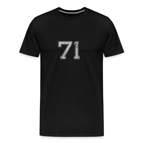 Nummer 71 Zahl Einundsiebzig Sieben Eins Geschenk - Männer Premium T-Shirt