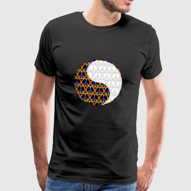 Yin Yang Psychadelic Peace Signs Chinese Symbol - Men's Premium T-Shirt