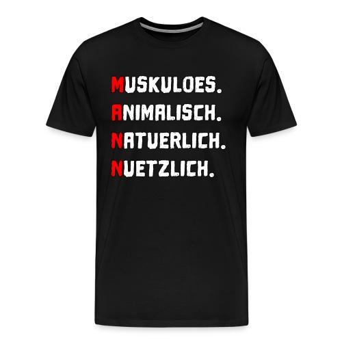Mann männlich Muskel Vatertag Papa Geschenk - Männer Premium T-Shirt
