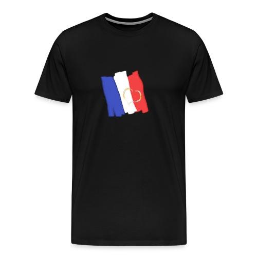Frankreich Fahne mit Herz Nation Sport Fanshirt - Männer Premium T-Shirt