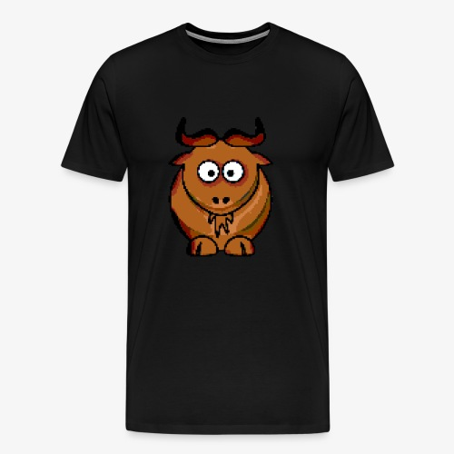 Ochse Retro Pixel Grafik Geschenk Bauernhof Kuh - Männer Premium T-Shirt