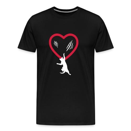 Katze hängt am Herz - Männer Premium T-Shirt