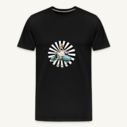 Pin Up auf Vespa Stripes - Männer Premium T-Shirt