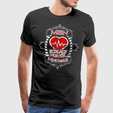 Mon cœur ne bat que pour ma famille - T-shirt Premium Homme