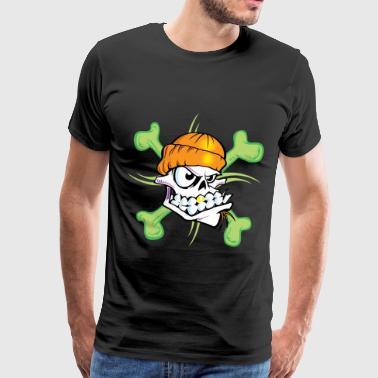 Grön skalle Tee - Premium-T-shirt herr