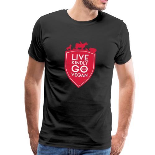 LIVE KINDLY GO VEGAN SHIELD - Männer Premium T-Shirt
