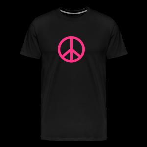 Gay pride peace symbool in roze kleur - Mannen Premium T-shirt