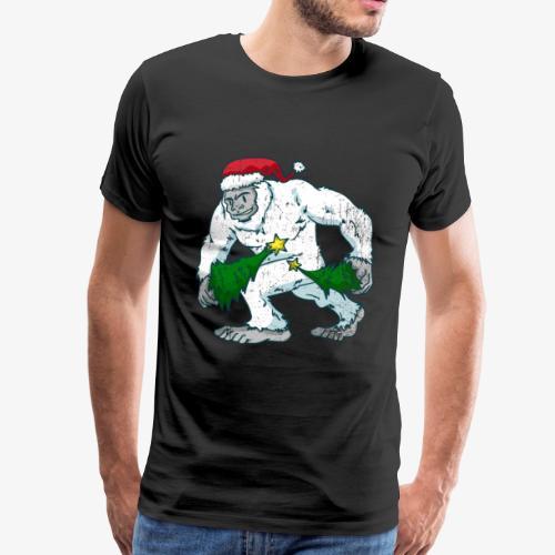 Bigfoot Weißer Gorilla Weihnachten Weihnachtsbaum - Männer Premium T-Shirt
