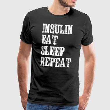Insulin Eat Sleep Repeat Diabetes Vintage T-Shirt - Men's Premium T-Shirt