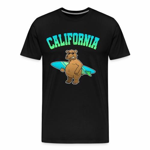 California Bär Kalifornien Surfbrett Surfen Urlaub - Männer Premium T-Shirt