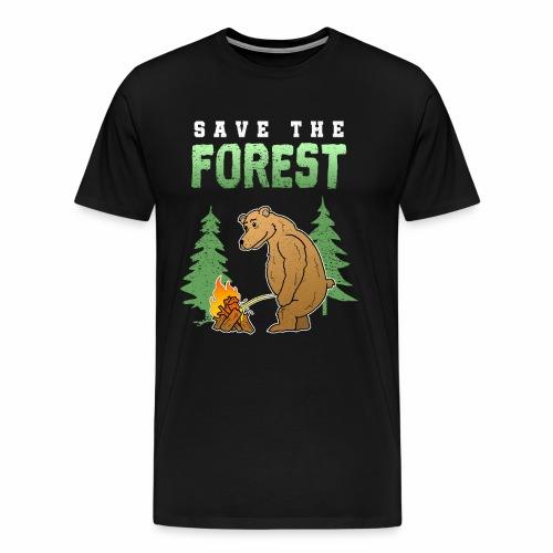 Camping Wald Wandern Bär Lagerfeuer Geschenk - Männer Premium T-Shirt