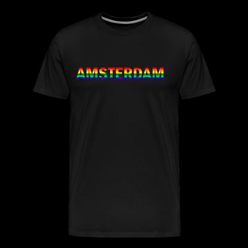 Amsterdam in gay pride rainbow kleuren - Mannen Premium T-shirt